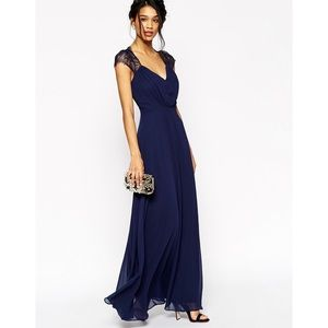 Navy lace floor-length gown